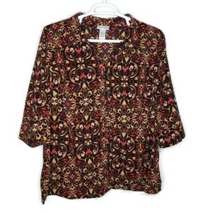 Catherines Blouse 1X 18/20W Hi Low Button Front